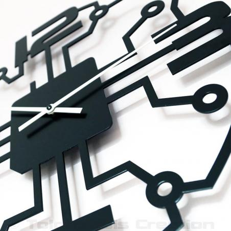 Close-up of the design wall clock Robotic. Height 40 cm