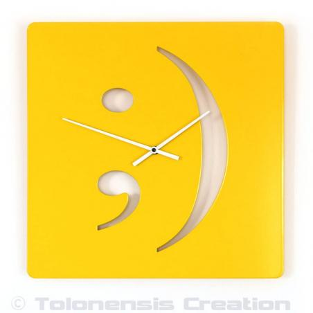Yellow wall clock Smiley. Height 40 cm