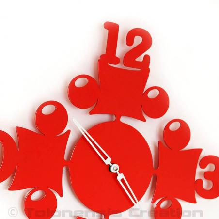 Red wall clock Circus. Height 40 cm