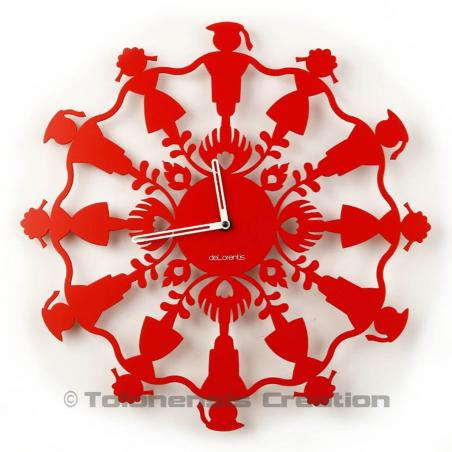 Wall clock Polish Folk Krakowiacy glossy red. Diameter 40 cm