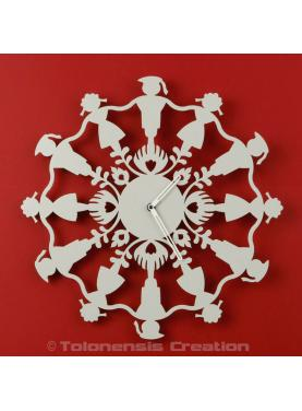 Wall clock Polish Folk Krakowiacy grey ivory. Diameter 40 cm
