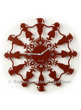 Wall clock Polish Folk Krakowiacy oxyde red. Diameter 40 cm