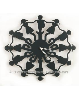 Wall clock Polish Folk Górale anthracite grey.Diameter 40 cm