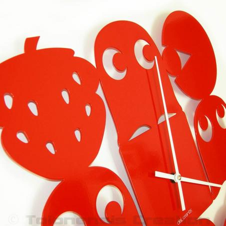 Red wall clock Pac-man. Height 40 cm