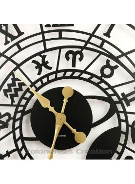 Large astronomical clock of Prague close-up of gold hands. Diameter 80 cm