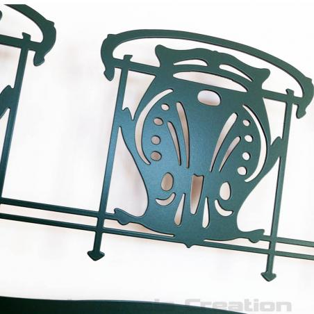 Wall ornament Art Nouveau style Metropolitain. Close-up