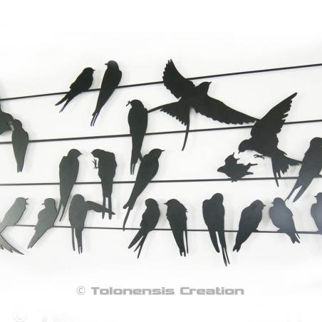 Birds wall decoration. Close-up. Width 90 cm