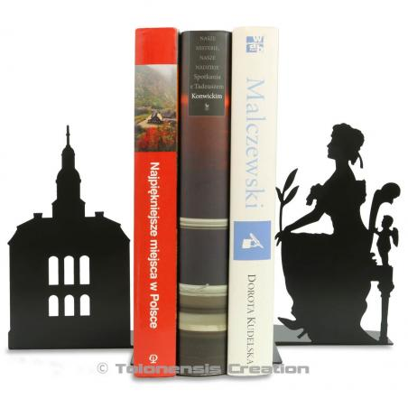 Bookends Ksiaz Castle and Daisy von Pless. Height 19 cm. Metal laser cut