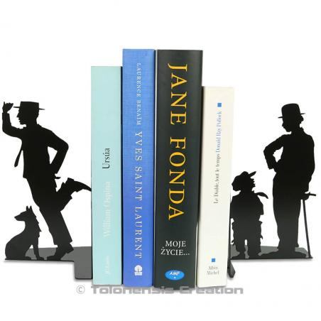 Bookends Charlie Chaplin and Buster Keaton on the thme of the american silent cinema. Height 19 cm. A steel laser cut creation.
