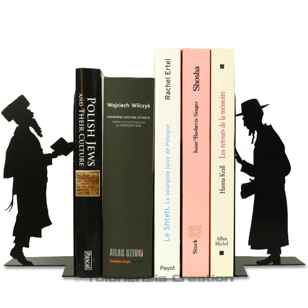 Set of bookends Judaica featuring an orthodox and a hasidic jews