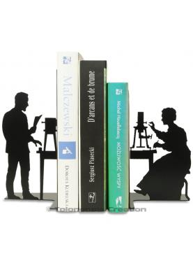 Bookends Pierre and Marie Curie featuring the physicians working in their laboratory