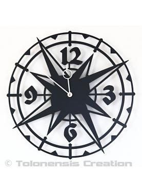 Exotic clock Colombus. Diameter 40 cm.Mteal laser cut wall clock